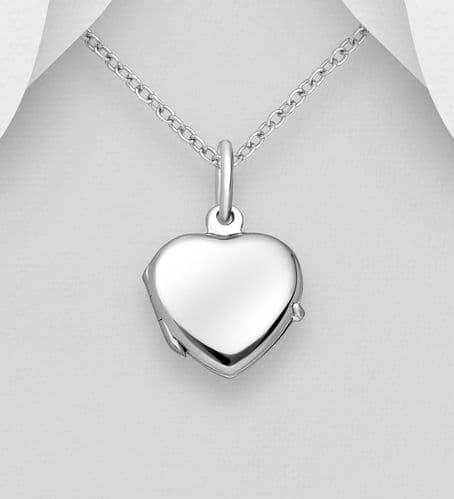 925 Sterling Silver Heart Locket Pendant & Chain